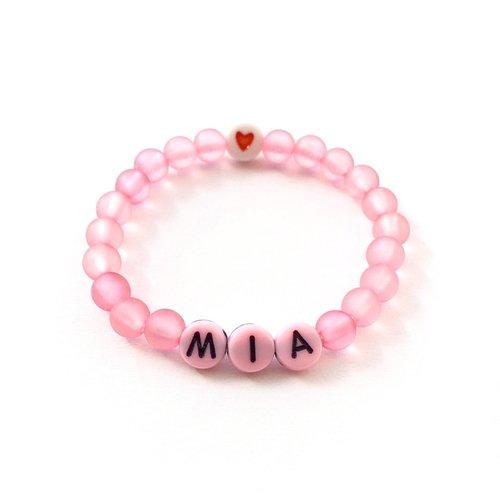 Bracelet à personnaliser mia sur fil élastique avec prénom, texte, message, logo, initiale lettres de l'alphabet a-z