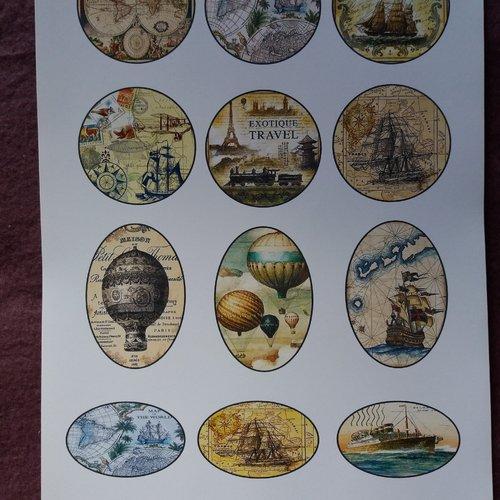 """Stickers """"voyages terre-mer- ciel"""" pastilles à découper, scrapbooking, collages, carterie, mixed-media, carnets de voyage, albums,"""