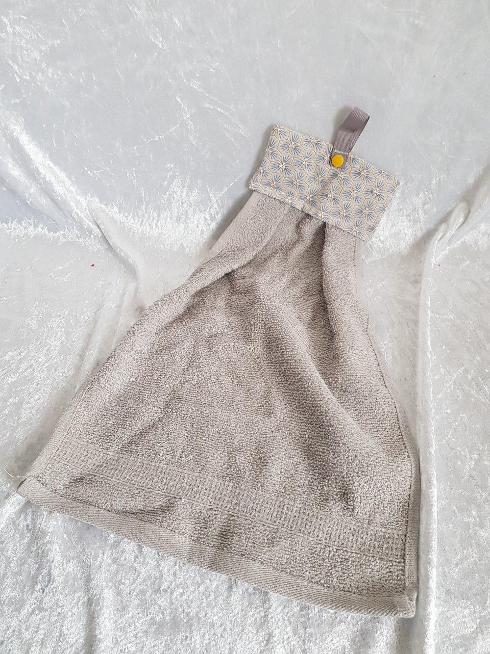 Essuie main à suspendre tissu coton et éponge