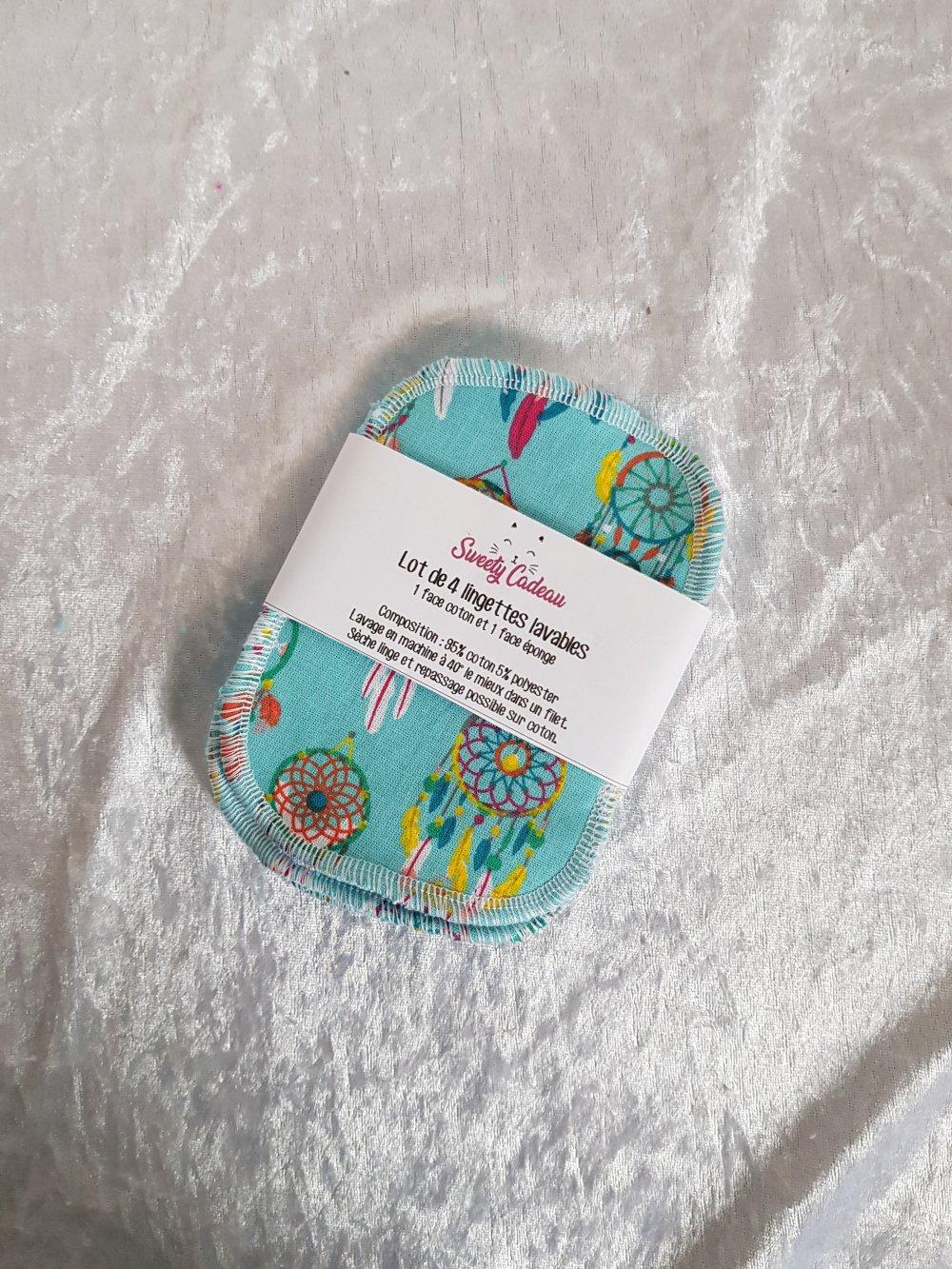 Lot de 4 lingettes en tissu coton et éponge lavable