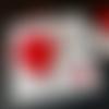 10 invitations / faire-parts  mariage, plume, rouge et blanc, strass, couleur au choix