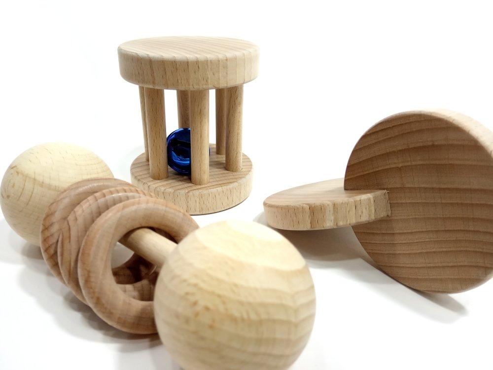 Lot de hochets Montessori, ensemble 3 jouets bébé (grelot bleu)