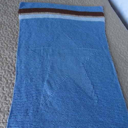 """Couverture bébé en pure laine """"bleu de france"""" et son sac pochon"""