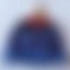 Bonnet bébé mixte à rayures : bleu grisé et jolie laine dégradée du bleu à l'orange