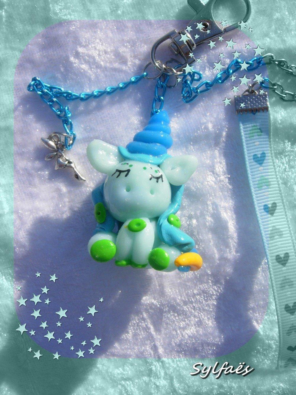 Bijou sac Licorne Bleue