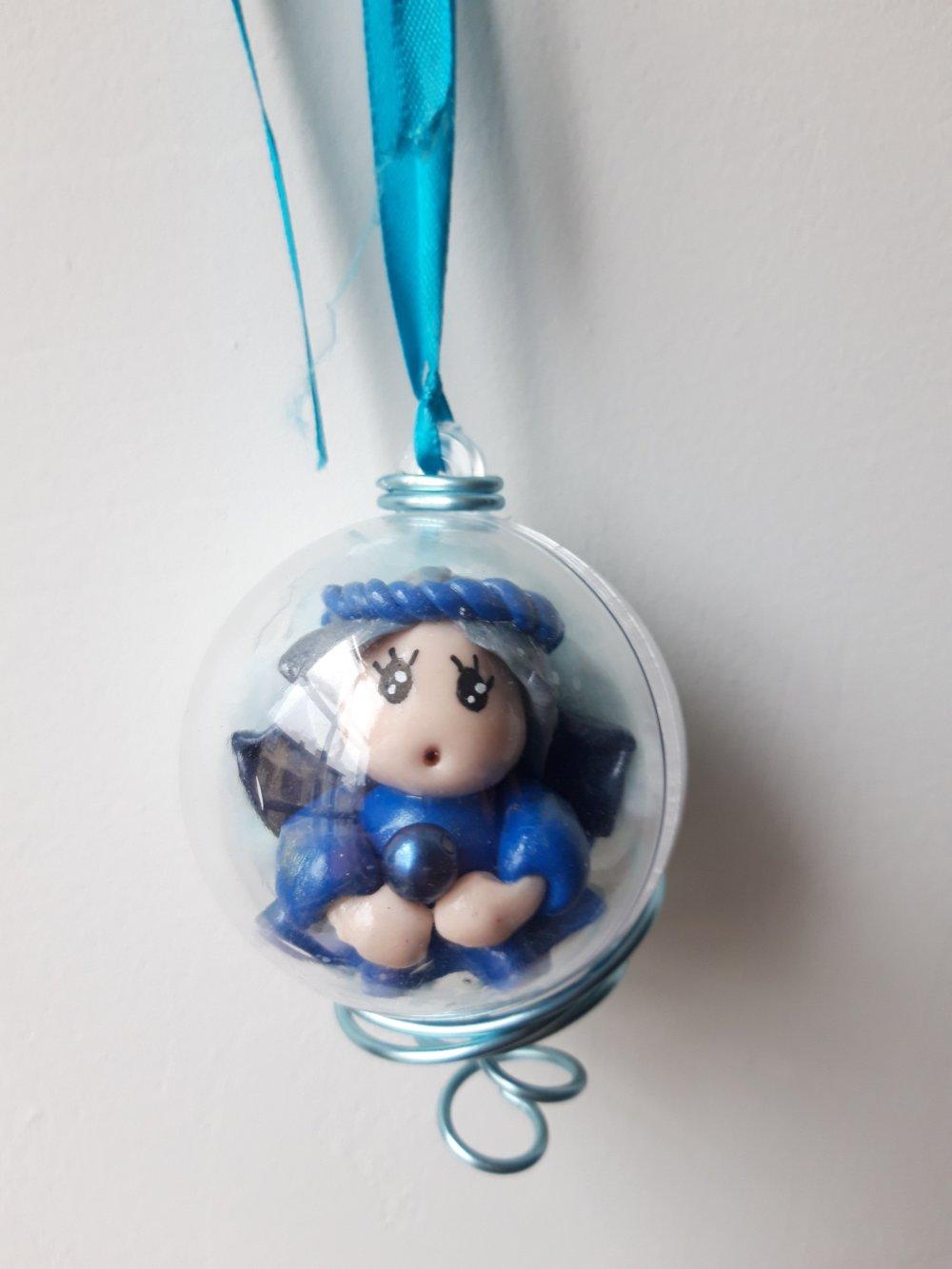 Boule Petit Ange Noël- Silnio, ange bleu (Diamètre 6cm)