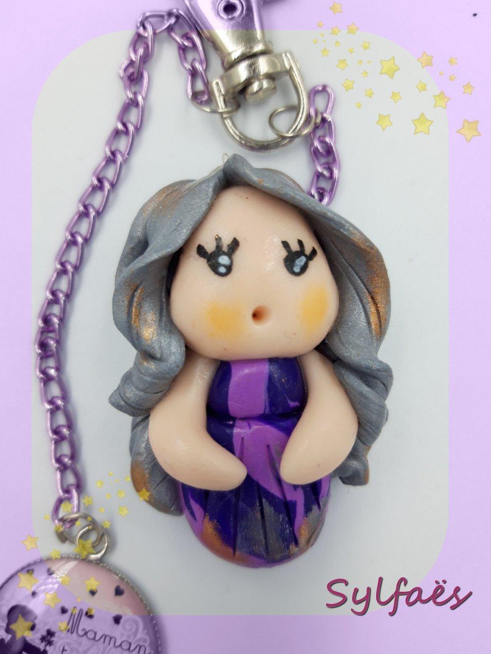 Bijou de sac Maman Maman tu sens bon le bonheur- Figurine lutine