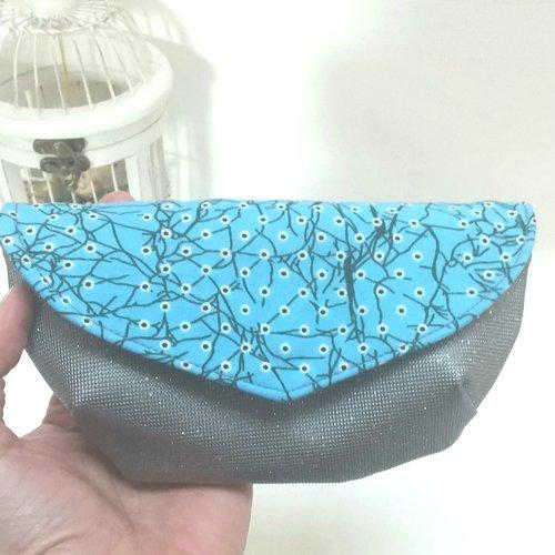 Étui à lunettes semi-rigide en simili cuir gris pailleté et wax bleu ciel