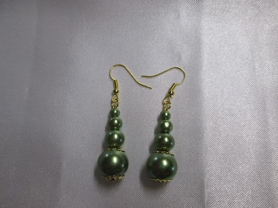 Boucle d'oreille perles verte