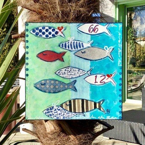 Tableau peinture poissons