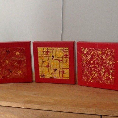 Décoration Tableau Mural Triptyque Abstrait Rouge Or Doré