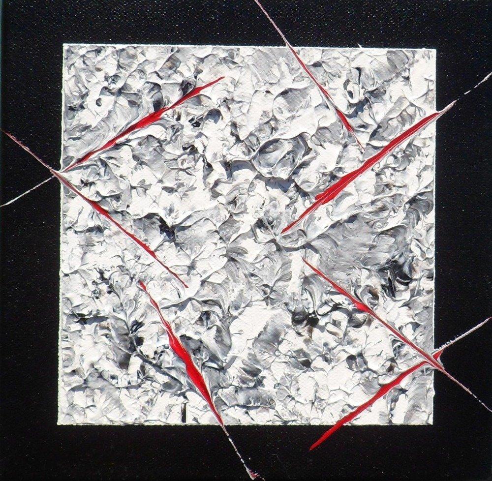 Tableau triptyque mural noir et blanc abstrait, peinture acrylique