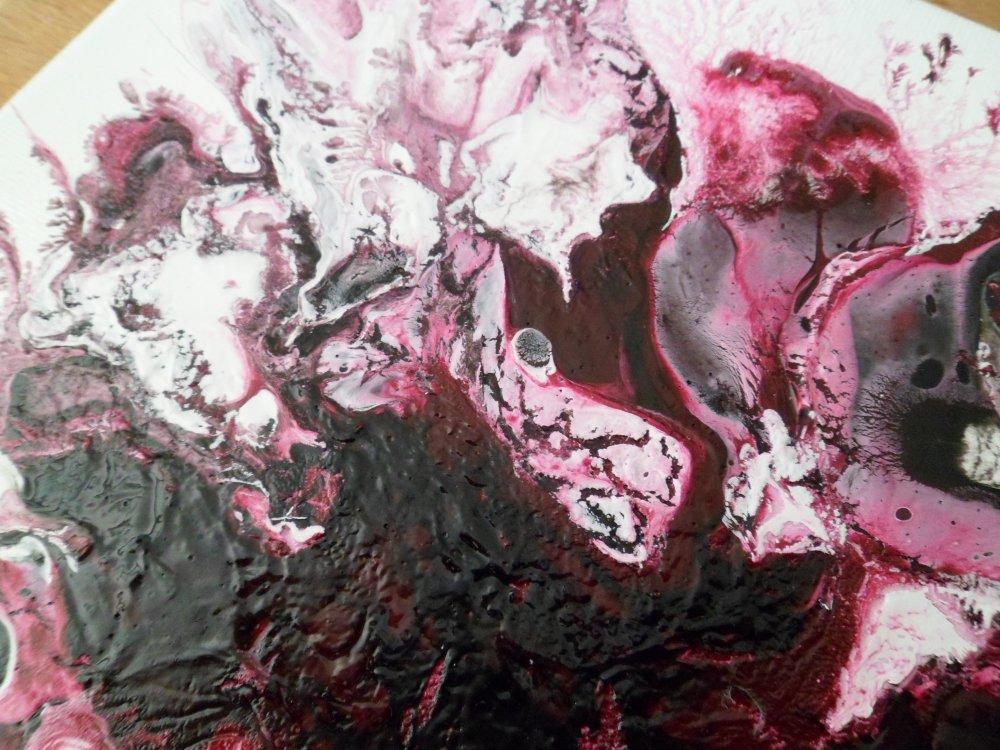 Tableau abstrait prune et blanc, peinture abstraite acrylique, format 20 X 20 cm