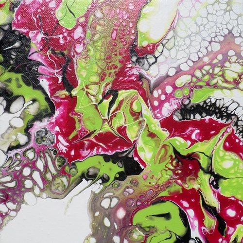 Peinture abstraite blanc rose vert noir, petit tableau contemporain à  l\'acrylique, 20 x 20 cm