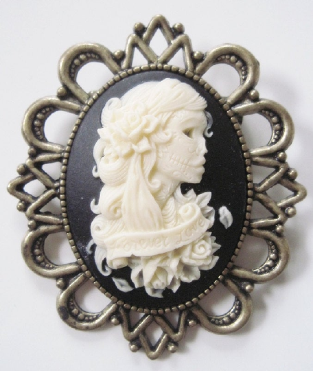 Broche camee femme miss skull tatouée et roses mexicain halloween gothique skull tatouage penny dreadful magique gothic