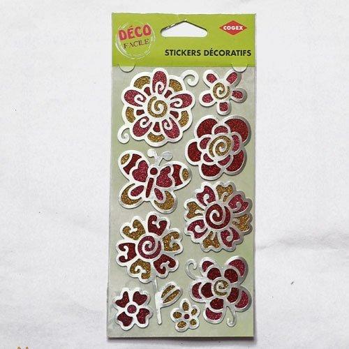 Stickers fleurs et papillon