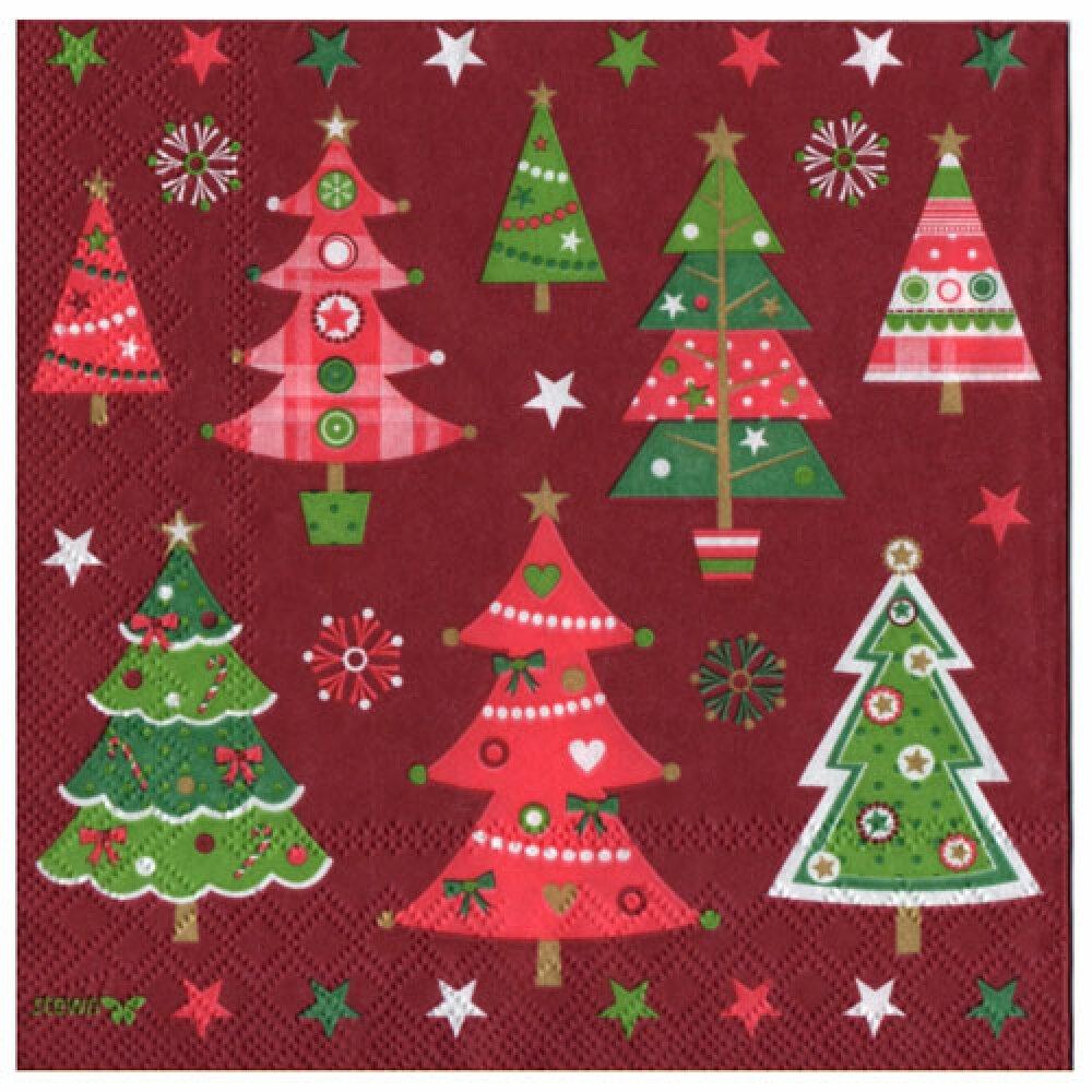 Serviette sapins de Noël
