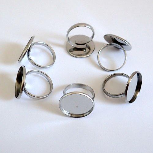 Bagues acier pour cabochon 20 mm x 6