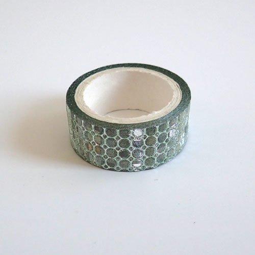 Masking tape brillant vert pois