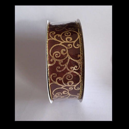 Ruban marron doré 4 cm x 1m