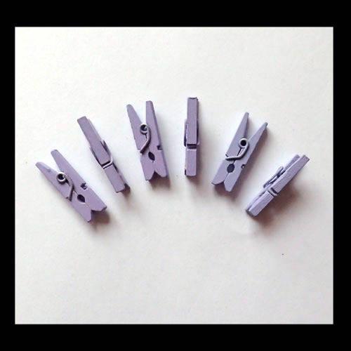 6 mini pinces à linge 2,5 cm violet lavande
