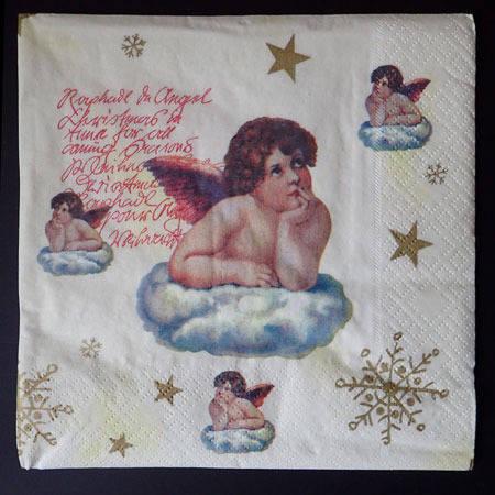 Serviette ange sur son nuage