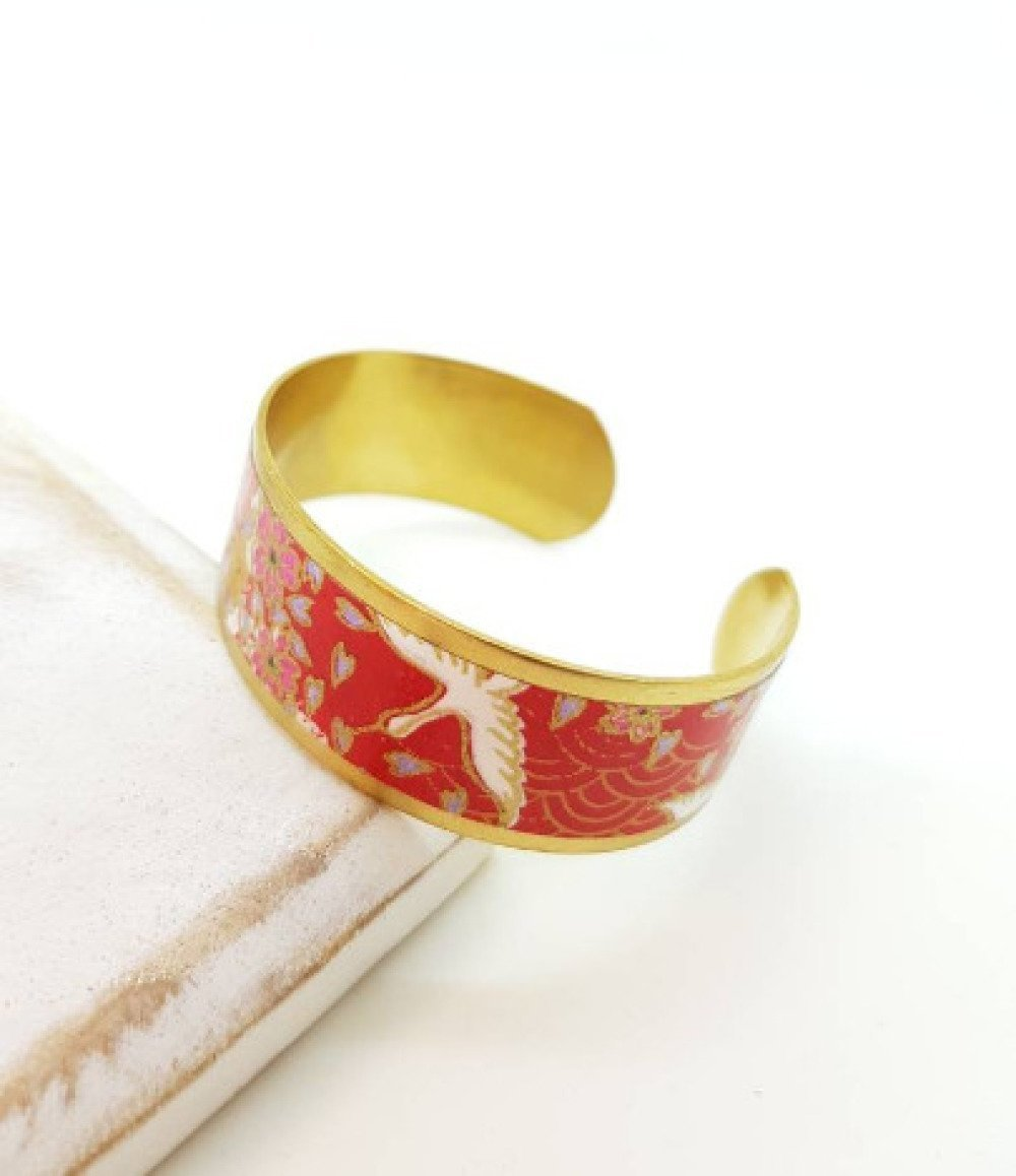 Bracelet manchette motifs japonais grues rouge et or