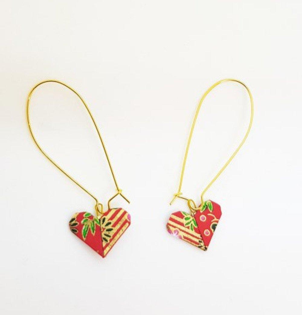 Boucles d'oreilles origami coeurs rouges et or