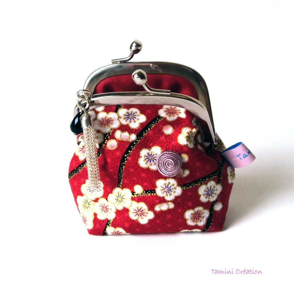Porte-monnaie rétro porte monnaie fermoir ancien en tissu japonais fleuri Cherry Blossom