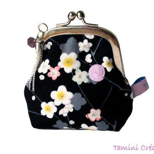 Porte-monnaie rétro porte monnaie fermoir ancien made in france en tissu japonais fleuri sakura
