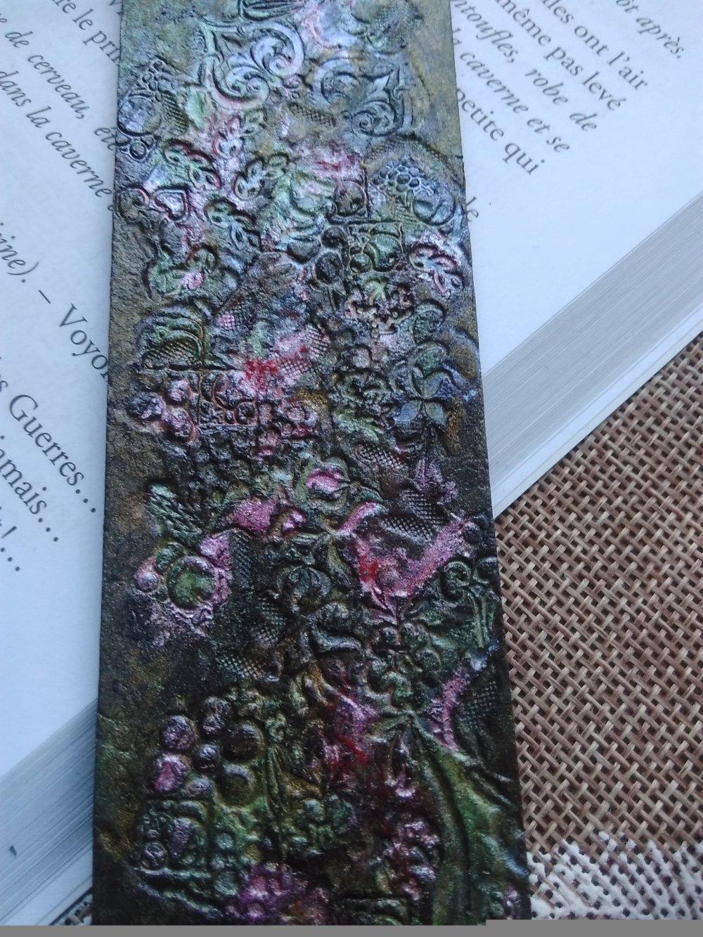 """marque page cuir """"florales"""""""