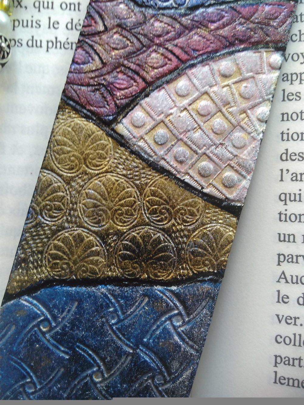 """marque-page en cuir  """"Patchwork"""""""