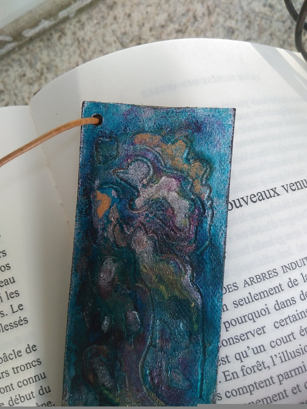 "marque page cuir ""couleurs Chagall """