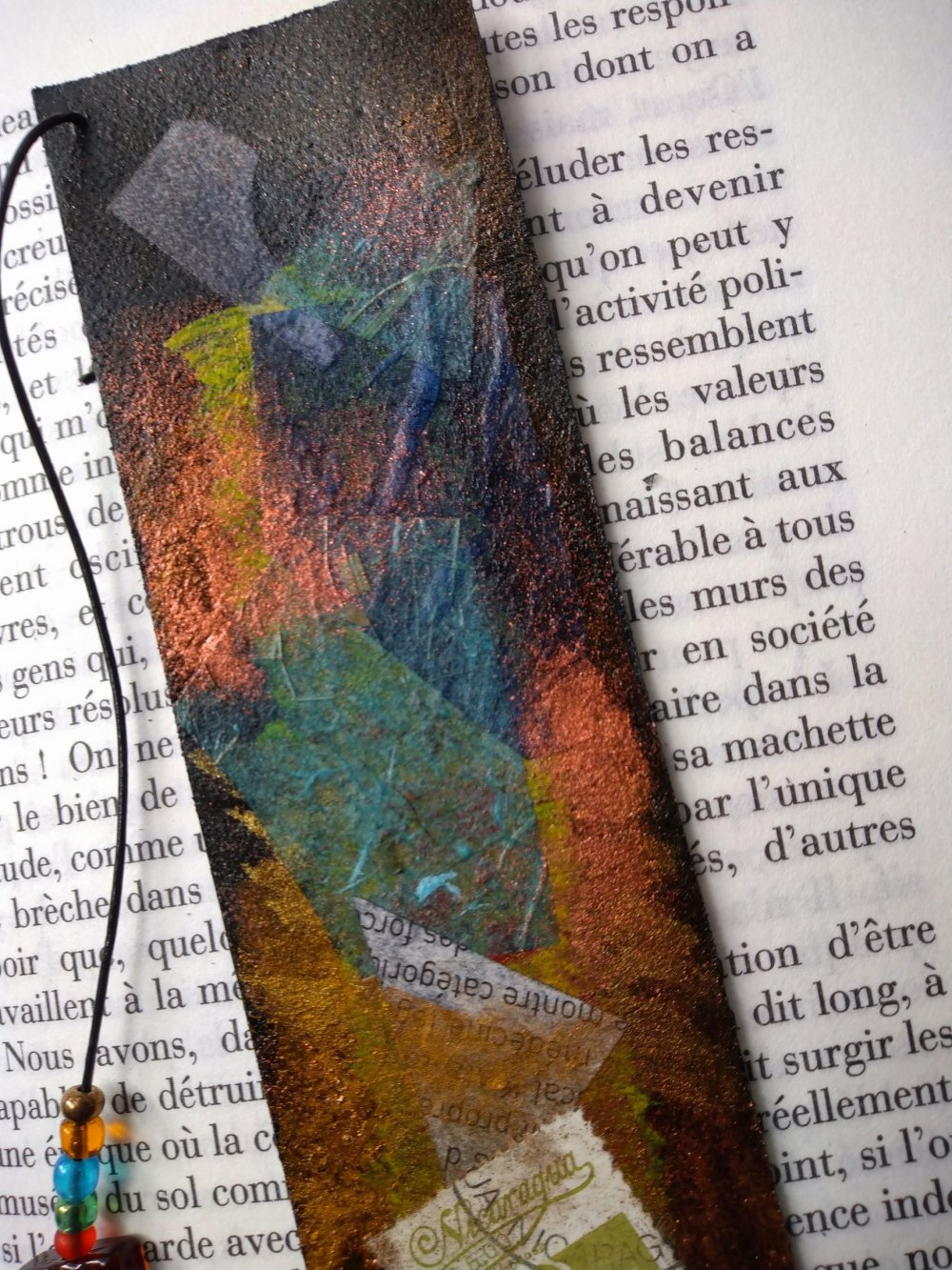 """marque page cuir """"collage et timbre"""""""