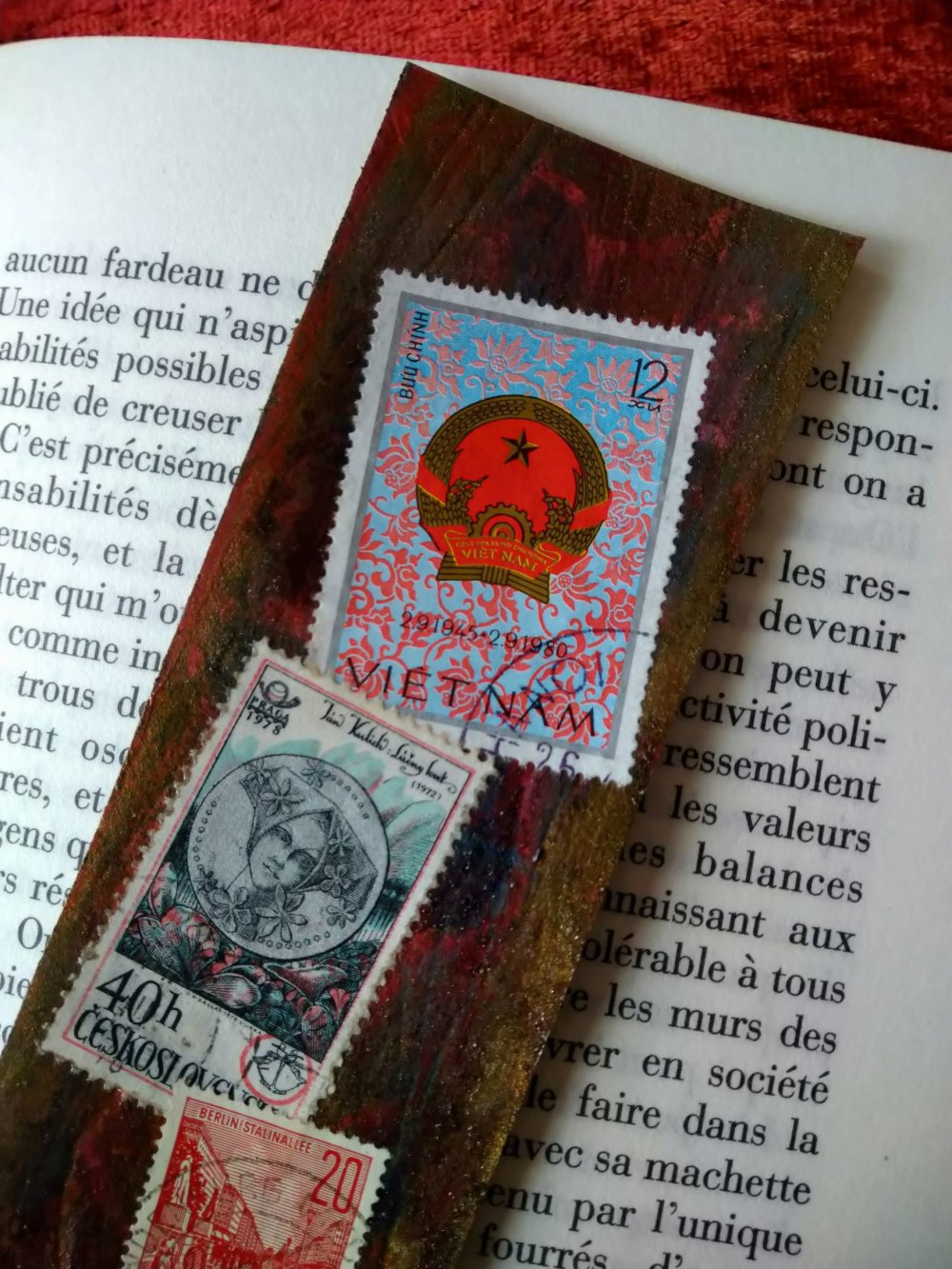 "marque page cuir ""philatélie"""