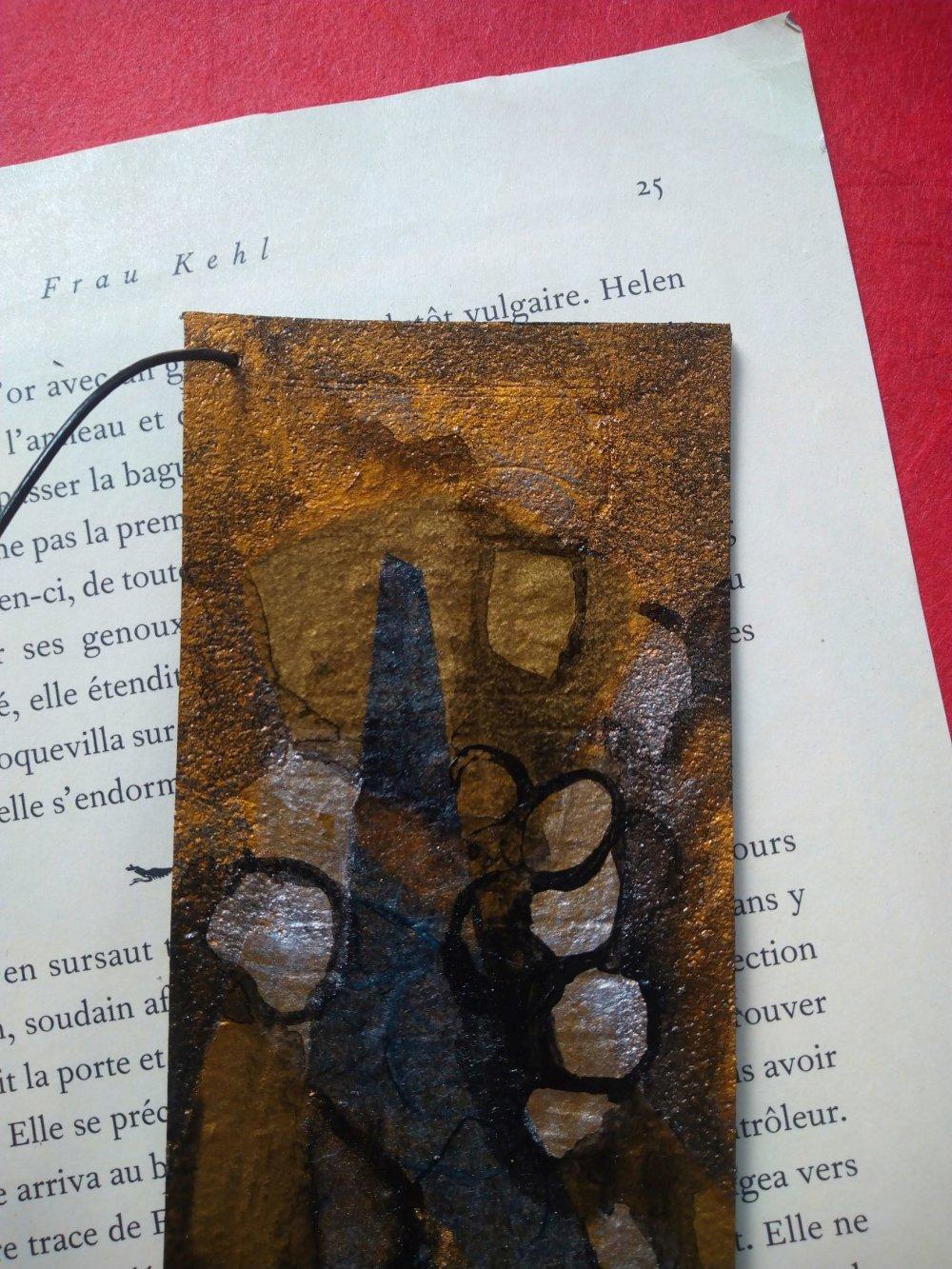 "marque page cuir ""cubisme"""
