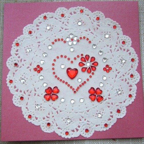 Carte Double Faite Main Rouge Mariage Déclaration Amour