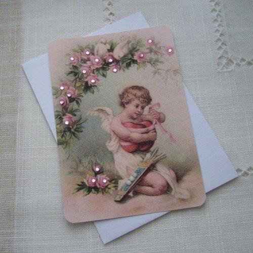 Carte Fete Anniversaire Faite Main Ange Fleurs Et Coeurs Enveloppe Blanche Un Grand Marche