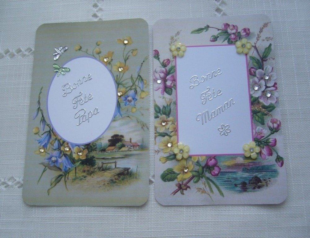 Cartes pour fête des mères et fête des pères faites  main - strass -  stickers argents enveloppe blanche