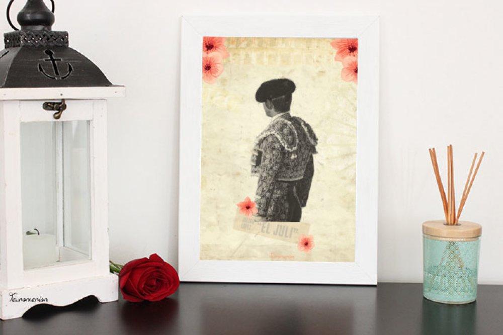 Affiche El Juli   Nimes fleurs  A4 sans cadre