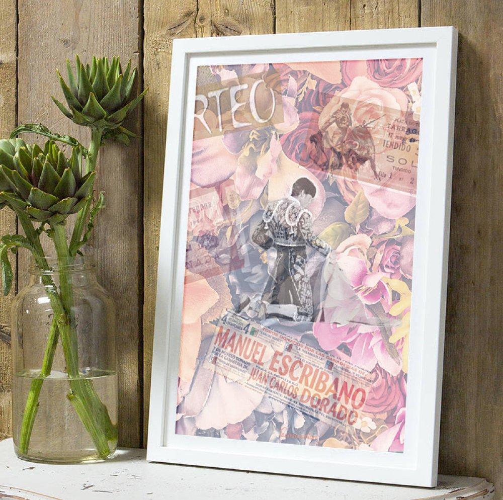 Affiche Torero Manuel Escribano fleurs A4 sans cadre