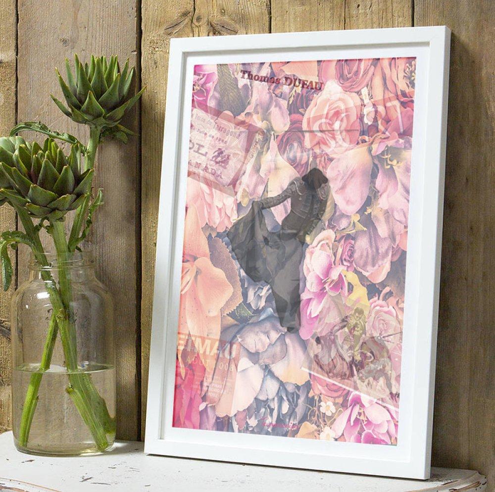 Affiche Torero Thomas Dufau fleurs A4 sans cadre