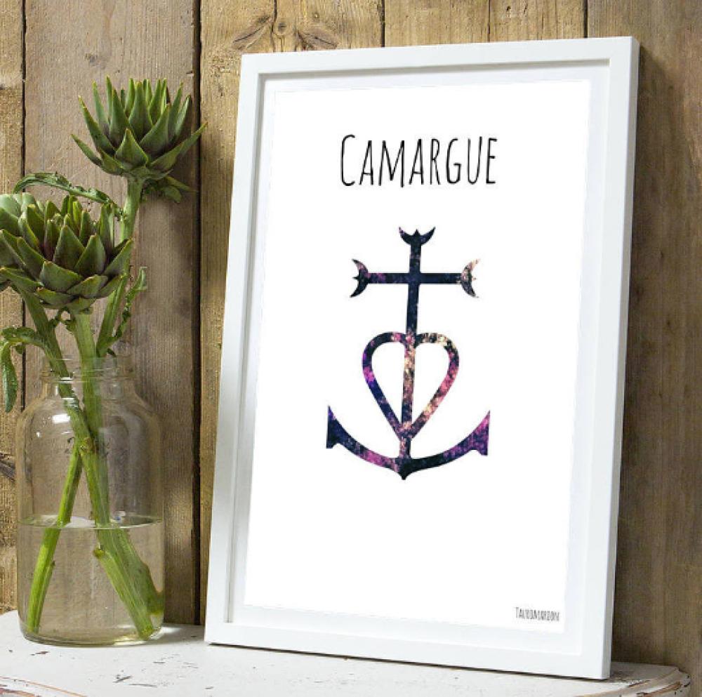 Affiche croix de Camargue couleur A4 sans cadre