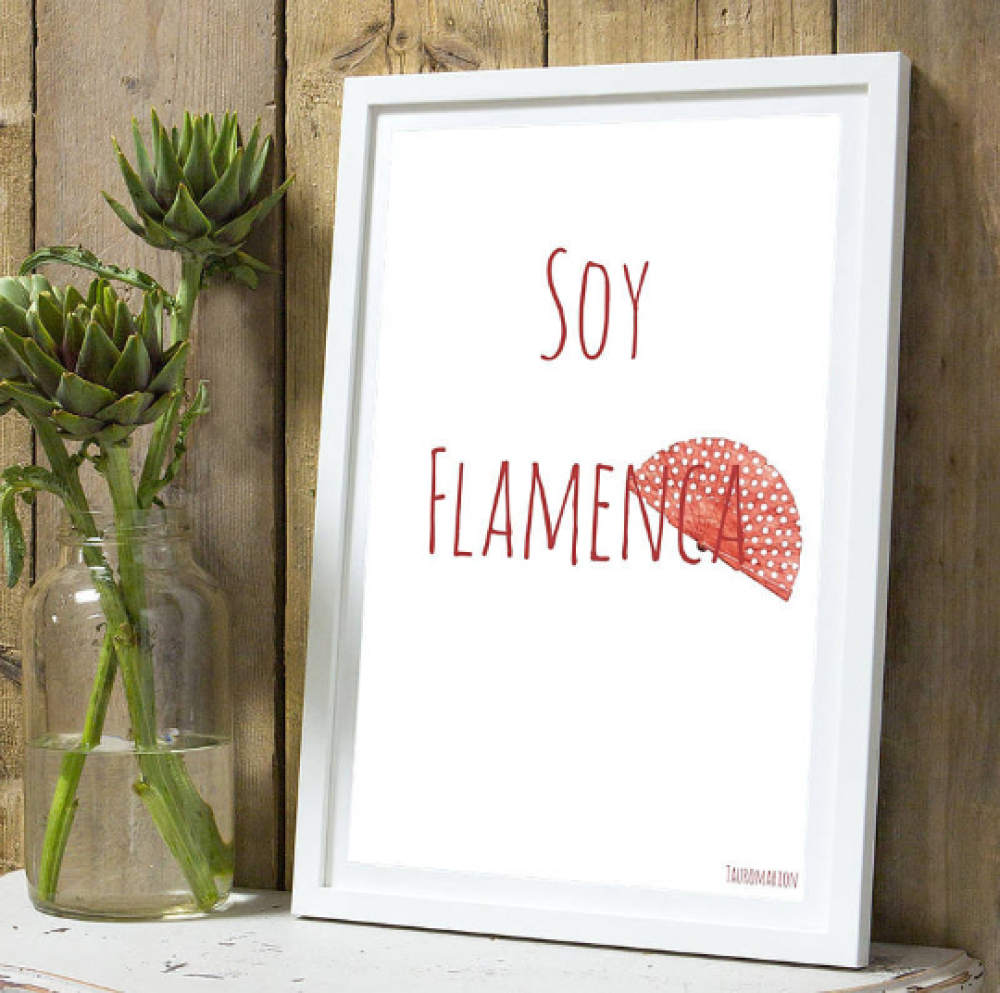 Affiche citation  flamenca rouge A4 sans cadre