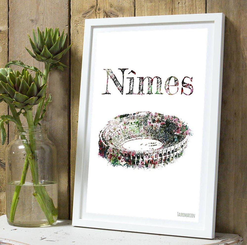 Affiche Arenes de  Nîmes  fleurie A4 sans cadre