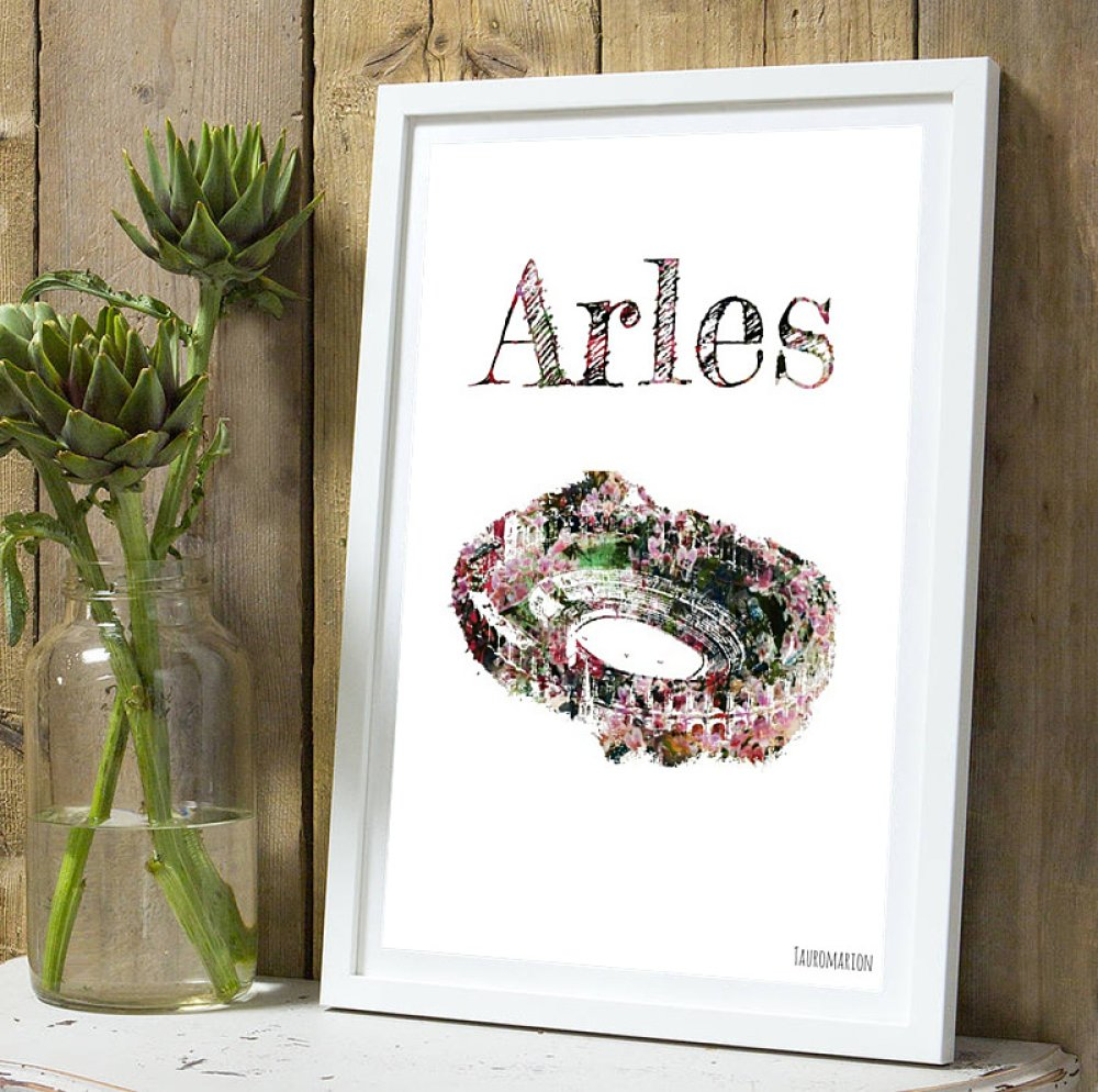 Affiche Arenes d'Arles  fleurie A4 sans cadre