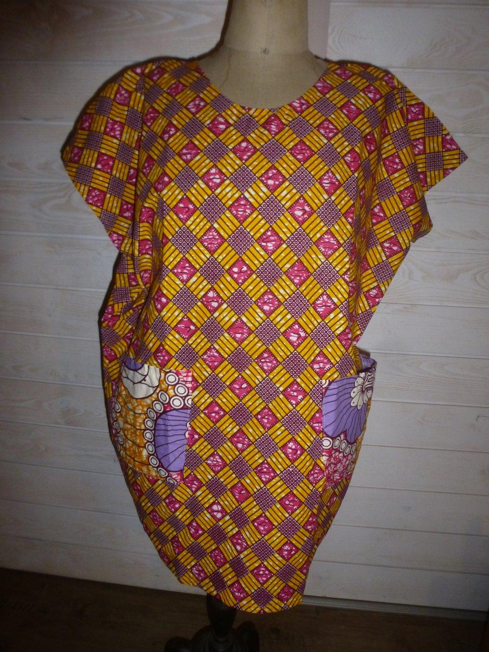 ROBE TUNIQUE COTON TISSU AFRICAIN WAX ETHNIQUE TAILLE 44 A 52 PIECE UNIQUE