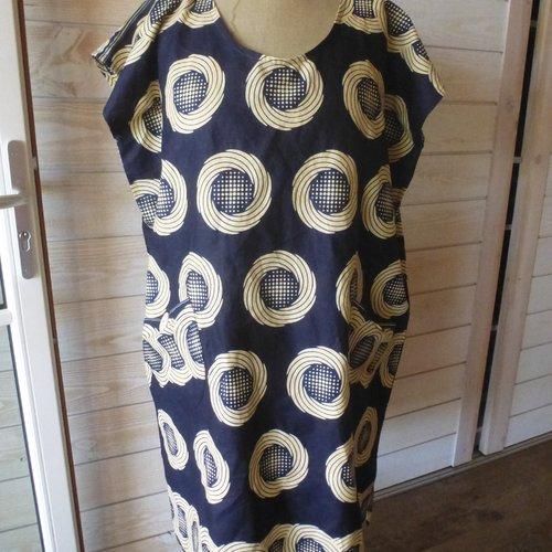 Robe Tunique Longue Coton Tissu Africain Wax Ethnique Taille 50 A 54 Piece Unique Un Grand Marche