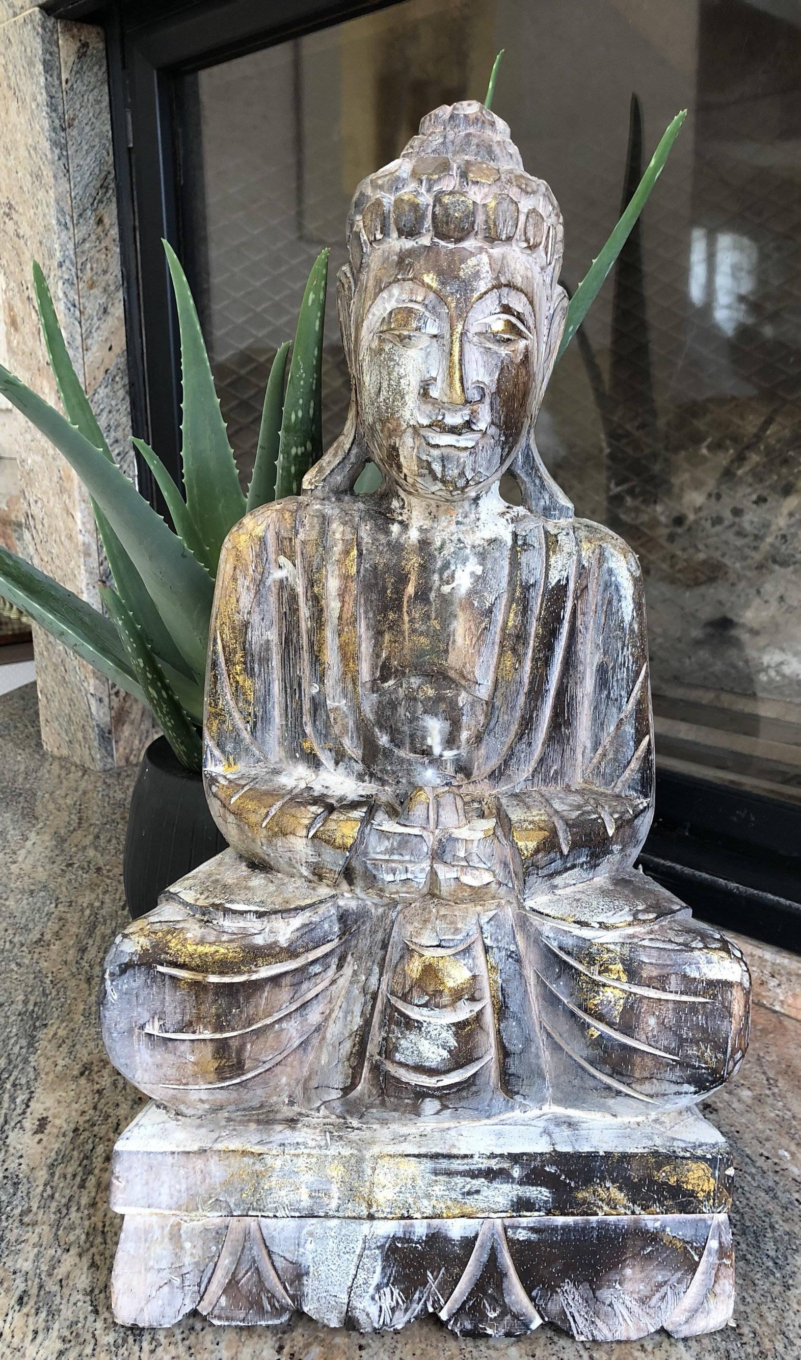 Bouddha sculpté en bois d'albesia, bouddha, statue, fait main, décoration  intérieure, décoration jardin, hauteur : 50 cm