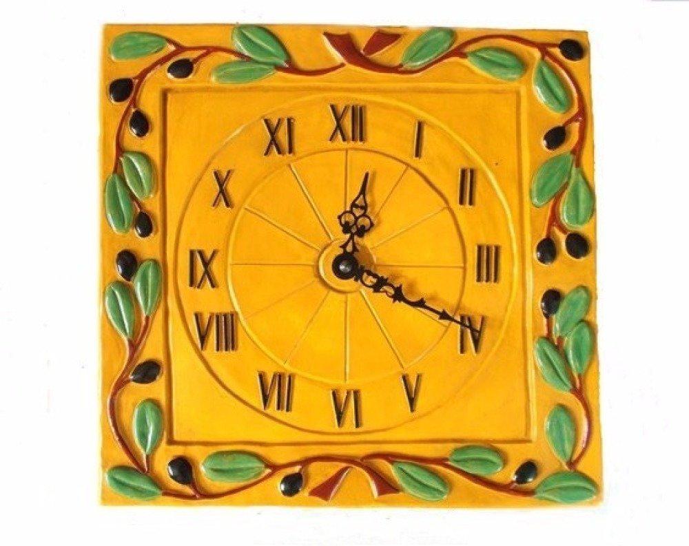 Horloge Murale Carre Horloge Provencale Jaune Avec Olives